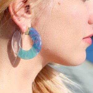 Jewelry - 🆕 Trendy Resin Acrylic Hoop Earrings - BLUE CLEAR